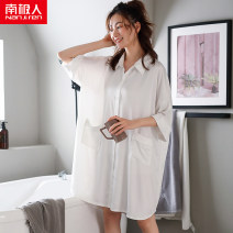 Nightdress NGGGN M (recommended body weight: 85-105 kg), l (recommended body weight: 105-120 kg), XL (recommended body weight: 120-140 kg), XXL (recommended body weight: 140-160 kg), XXXL (recommended body weight: 160-180 kg, [gift box packaging] Simplicity three quarter sleeve pajamas Middle-skirt