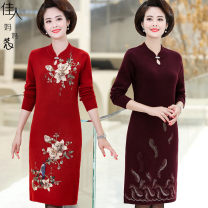 Middle aged and old women's wear Winter of 2019, autumn of 2019 M (recommended 80-90 kg), l (recommended 90-110 kg), XL (recommended 110-125 kg), 2XL (recommended 125-140 kg), 3XL (recommended 140-155 kg), 4XL (recommended 155-170 kg) fashion Dress easy singleton  Big flower 40-49 years old Socket