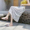 skirt Summer 2021 M, L Black, white Mid length dress Versatile High waist A-line skirt Decor Type A 18-24 years old 71% (inclusive) - 80% (inclusive) polyester fiber