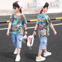 suit Other / other White, gray 110cm,120cm,130cm,140cm,150cm,160cm male summer Korean version Short sleeve + pants 2 pieces Thin money There are models in the real shooting Graffiti cotton Learning reward Class B Three, four, five, six, seven, eight, nine, ten, eleven, twelve Chinese Mainland