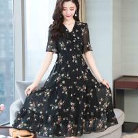 Dress Summer 2021 black S,M,L,XL,2XL,3XL,4XL Mid length dress singleton  Short sleeve V-neck Princess Dress Type A Other / other 31% (inclusive) - 50% (inclusive) Chiffon other
