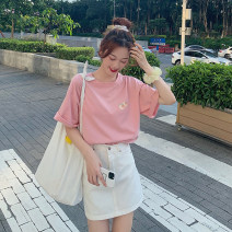 T-shirt White, peach powder Average size Summer 2020 Short sleeve Crew neck easy Regular routine Sweet other 71% (inclusive) - 85% (inclusive) 18-24 years old youth Plants, flowers, letters Other / other printing college