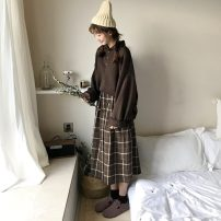 skirt Spring of 2019 One size fits all spot, XXXs pre-sale Black, blue, coffee Mid length dress Pleated skirt lattice 18-24 years old 30% and below other Other / other other
