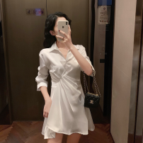 Dress Autumn 2020 white S, M Short skirt singleton  elbow sleeve commute Polo collar High waist Solid color Socket A-line skirt routine Others 18-24 years old Type A Other / other Korean version 81% (inclusive) - 90% (inclusive) other other