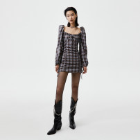 Dress Autumn 2020 S M Short skirt Long sleeves commute square neck High waist lattice Socket Pencil skirt puff sleeve 25-29 years old Pleated printing More than 95% polyester fiber Polyester 95% polyurethane elastic fiber (spandex) 5%