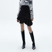 skirt Winter 2020 S M black Short skirt street High waist skirt Solid color 25-29 years old C206SKT022 More than 95% showroom plus cotton Ruffle fold Cotton 97% polyurethane elastic fiber (spandex) 3% Europe and America