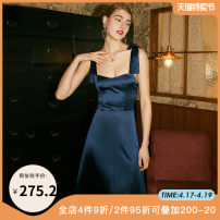 Dress Summer 2020 Navy Pink XS S M L Mid length dress singleton  Sleeveless commute square neck High waist Solid color zipper A-line skirt camisole 25-29 years old Type A dodc Open back zipper G1-F20DR5828 More than 95% polyester fiber Polyester 97% polyurethane elastic fiber (spandex) 3%