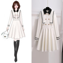 Dress Spring 2021 White skirt 810785, black skirt 810785 S,M,L,XL Middle-skirt singleton  Long sleeves commute Admiral High waist Solid color Socket A-line skirt other Others 25-29 years old Type A Other / other Korean version Stitching, asymmetry, button, zipper 810785 spring skirt polyester fiber