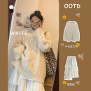 Women's large Winter 2020 White skirt apricot sweater apricot sweater + white skirt S M L XL Dress Two piece set commute easy Socket Solid color Korean version Crew neck routine routine 956# Lour cocoa 18-24 years old Medium length Polyester 45% other 55% Pure e-commerce (online only) Cake skirt