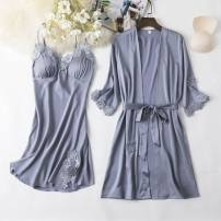 Pajamas / housewear set female Other / other M,L,XL,XXL Polyester (polyester) Long sleeves sexy pajamas summer Thin money V-neck Solid color trousers youth rubber string More than 95% silk lace N28720 Middle-skirt