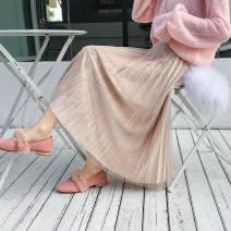 skirt Autumn 2020 One size elastic waist Grey, black, apricot, champagne, blacknet + grey, blacknet + champagne, blacknet + army green Mid length dress Versatile Natural waist Pleated skirt Solid color Type A 18-24 years old