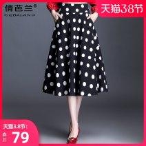 skirt Spring 2021 M waist 2 feet, l waist 2 feet 1, XL waist 2 feet 2, 2XL waist 2 feet 3, 3XL waist 2 feet 4, 4XL waist 2 feet 5 Wave point Mid length dress commute High waist A-line skirt Dot Type A Other / other bow Korean version
