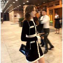 Women's large Winter 2020, autumn 2020 black M = 2, large L = 3, large XL = 4 Dress singleton  commute Socket Long sleeves Solid color Korean version Crew neck cotton routine pocket 81% (inclusive) - 90% (inclusive) Middle-skirt