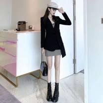 Fashion suit Spring 2021 S,M,L,XL black suit  81% (inclusive) - 90% (inclusive) cotton