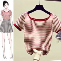 T-shirt Gray (stripe), black (stripe), red (stripe), yellow (stripe) S,M,L,XL Summer 2020 Short sleeve One word collar Self cultivation have cash less than that is registered in the accounts routine commute other 96% and above 18-24 years old Korean version youth Thin horizontal stripe