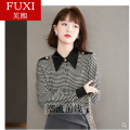 shirt Lattice, pictures, collection, baby priority delivery~ S,M,L,XL,2XL Spring 2021 polyester fiber 31% (inclusive) - 50% (inclusive) Long sleeves commute Regular Polo collar Single row multi button puff sleeve lattice 25-29 years old Straight cylinder Retro polyester cotton