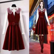 Fashion suit Winter of 2019 M,L,XL,XXL,4XL White sweater, red dress + two piece sweater 18-25 years old Other / other 91883-91123 sets