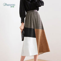 skirt Summer 2021 S,M,L Green coffee longuette commute High waist A-line skirt Solid color Type A C21040803W More than 95% other Ducurno / ducanu polyester fiber