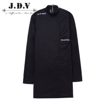 shirt Fashion City J.D.V 165/88B 170/92B 175/96B 180/100B 180/104B 185/108B black routine stand collar Long sleeves standard Other leisure winter WIC6385 youth Cotton 100% Youthful vigor 2015 Letters / numbers / characters Plaid Fall 2017 tie-dyed kick pleat