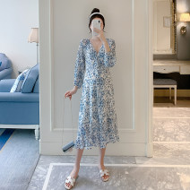 Dress Other / other blue M,L,XL,XXL Korean version Long sleeves Medium length summer Crew neck Decor polyester fiber ZF93146