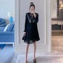 Dress Other / other Apricot, pink, black M,L,XL,XXL Korean version Short sleeve Medium length summer Lapel Solid color polyester fiber