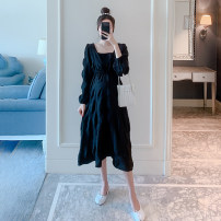 Dress Other / other White, black M,L,XL,XXL Korean version Long sleeves Medium length autumn square neck Solid color ZF1421-55