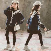 suit Other / other Dark Blue Plush for warmth 120cm,130cm,140cm,150cm,160cm,170cm female winter Korean version Long sleeve + pants 2 pieces thickening There are models in the real shooting Socket nothing Solid color children Expression of love Two piece navy sweater with velvet Class B