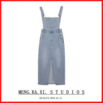Dress Spring 2021 Blue, carbon grey S,M,L Mid length dress singleton  Long sleeves commute High waist Solid color A-line skirt camisole 18-24 years old Type A 71% (inclusive) - 80% (inclusive)