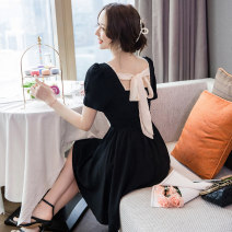 Dress Summer 2021 black S M L XL Short skirt singleton  Short sleeve commute square neck High waist Solid color Socket A-line skirt routine 25-29 years old Type A Ryukura Butterfly dew back More than 95% other Other 100% Pure e-commerce (online only)