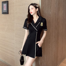 Dress Summer 2021 black S M L XL 2XL Short skirt Two piece set Short sleeve commute tailored collar High waist Solid color zipper A-line skirt routine 25-29 years old Type A Ryukura Korean version Stitched button zipper split F77029 More than 95% other Other 100% Pure e-commerce (online only)