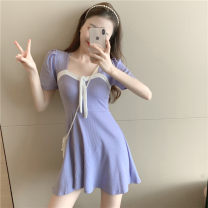 Women's large Summer 2020 Purple black S M L singleton  commute Short sleeve Solid color Korean version square neck routine OKZE13776 Yinhong 18-24 years old Short skirt Other 100% Pure e-commerce (online only)