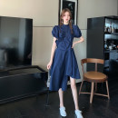 Women's large Summer 2021 Navy White S M L XL singleton  commute Short sleeve Korean version stand collar puff sleeve Yinhong 18-24 years old Middle-skirt Other 100% Pure e-commerce (online only) Irregular skirt