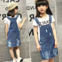 Dress Denim holed strap skirt (skirt), denim holed skirt + undershirt color random female Other / other Other 100% Solid color Strapless skirt iDmNsbiz 3 months
