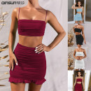 Dress summer Europe and America Short skirt Two piece set middle-waisted Sleeveless street Straight collar Solid color Condom routine 81% (inclusive) - 90% (inclusive) A-line skirt polyester fiber 25-29 years old Type A camisole Splicing Spring 2021 Other / other ZY1312 S,M,L,XL