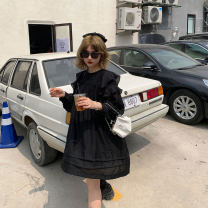 Dress Spring 2021 Black, white Average size Middle-skirt singleton  Long sleeves commute Crew neck Loose waist Solid color Socket A-line skirt puff sleeve Others 18-24 years old Type A Other / other Korean version 90231L0662 51% (inclusive) - 70% (inclusive)