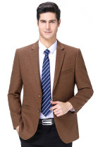 man 's suit Others Fashion City routine 165/84A(S),170/88A(M),175/92A(L),180/96A(XL),185/100A(2XL),190/104A(3XL) easy Double breasted banquet No slits middle age Long sleeves spring routine Business Casual Casual clothes Flat lapel Straight hem Solid color Regular collar (collar width 7-9cm) 2020