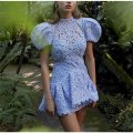 Dress Summer 2020 Sky blue, white XL,L,S,M Short skirt Short sleeve Sweet Crew neck Solid color puff sleeve Others