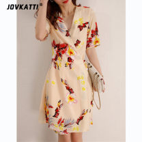 Dress Summer 2021 Decor S,M,L,XL Mid length dress singleton  Short sleeve commute V-neck High waist Decor Socket A-line skirt routine Others Type H Jovkatti / drokati Ol style XX040610 More than 95% other other