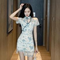 Dress Summer 2020 blue S,M,L Short skirt singleton  Short sleeve stand collar High waist Solid color zipper A-line skirt other 18-24 years old Type A Other / other Button, print