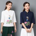 T-shirt Navy, red, off white M,L,XL,2XL Summer 2020 elbow sleeve stand collar Self cultivation Regular routine commute cotton 51% (inclusive) - 70% (inclusive) ethnic style Plants and flowers Embroidery