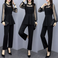 Women's large Spring 2020 black M suggests 90-100kg, l 100-115kg, XL 115-130kg, 2XL 130-145kg, 3XL 145-160kg, 4XL 16-180kg Two piece set easy moderate Socket Long sleeves Crew neck routine polyester Collage routine Other / other 18-24 years old Lace stitching 51% (inclusive) - 70% (inclusive)