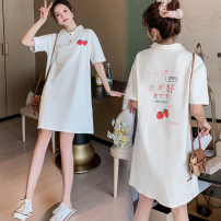 Dress Terry Kennedy Pink, apricot, white strawberry, black strawberry, blue one, blue two M,L,XL,XXL Korean version Short sleeve Medium length summer Lapel Solid color Pure cotton (95% and above) 159#