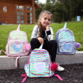 Backpack PU Other / other brand new in zipper leisure time Double root Cartoon children no Soft handle Solid color nothing female No waterproof Square box inside pocket with a zipper Sequins no other