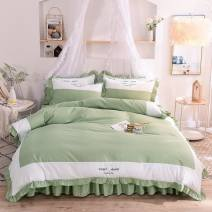 Bedding Set / four piece set / multi piece set cotton Embroidery Solid color 133x72 Other / other cotton 4 pieces 60 1.5m bed (quilt cover 200 * 230) four piece set, 1.8m bed (quilt cover 200 * 230) four piece set, 2.0m bed (quilt cover 200 * 230) four piece set Bed skirt Qualified products 100%