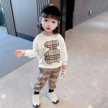 suit Ohm bear White black 80cm 90cm 100cm 110cm 120cm 130cm female spring and autumn Long sleeve + pants 2 pieces There are models in the real shooting nothing cotton children birthday OMX-2807 Class B Cotton 90% other 10% Spring 2021