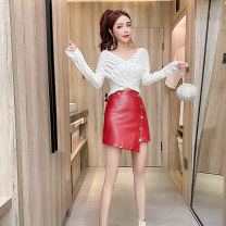 Dress Autumn 2020 White top red leather skirt white top + Red Leather Skirt One size s ml XL Short skirt singleton  Long sleeves commute V-neck High waist Solid color Socket A-line skirt routine Others 25-29 years old Xin Yuxuan LZ8017# More than 95% brocade polyester fiber Other polyester 95% 5%