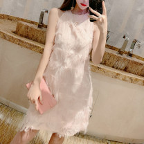 Dress Spring of 2019 Light pink white black S M L Middle-skirt singleton  Sleeveless commute Crew neck High waist Solid color Socket A-line skirt routine Hanging neck style 25-29 years old Type H Xin Yuxuan Korean version tassels X50659# More than 95% Lace polyester fiber Other polyester 95% 5%