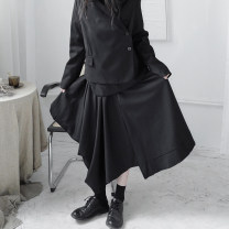 skirt Spring 2021 S,M,L black Mid length dress street High waist A-line skirt Solid color Type A 25-29 years old K1805 71% (inclusive) - 80% (inclusive) other Other / other polyester fiber Asymmetry Punk