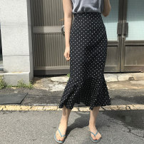 skirt Spring of 2019 S M L XL black Mid length dress commute Natural waist skirt Dot Type A More than 95% other Showgrid other Korean version Other 100% Pure e-commerce (online only)