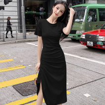 Dress Summer 2020 Black grey S M L longuette singleton  Short sleeve commute Crew neck High waist Solid color Socket Irregular skirt routine Others 25-29 years old Type A Showgrid fold More than 95% other Other 100% Pure e-commerce (online only)
